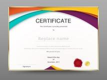 现代证明欣赏模板 文凭设计 向量 免版税库存图片