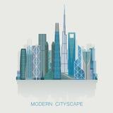 现代详细的地平线都市风景 城市剪影 图库摄影