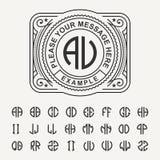 现代象征,徽章,模板 豪华典雅的框架装饰品线商标设计传染媒介例证 并且创造的集合 库存照片