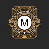 现代象征,徽章,组合图案模板 豪华典雅的框架装饰品线商标设计传染媒介例证 好为 免版税库存照片