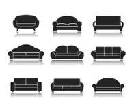现代豪华沙发和长沙发 库存例证