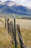 现代金属篱芭岗位和木老岗位 库存图片