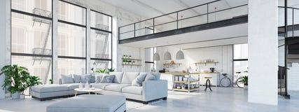 现代顶楼公寓 3d翻译 免版税库存图片