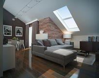 现代顶楼客厅内部。 免版税图库摄影