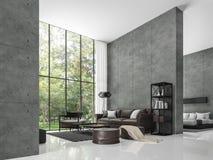现代顶楼客厅和卧室3d翻译图象 向量例证