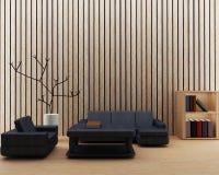 现代顶楼设计的内部客厅在3D回报图象 图库摄影