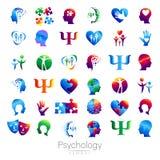 现代顶头标志套心理学 外形人 创造性的样式 在传染媒介的标志 设计观念 品牌公司 免版税库存图片