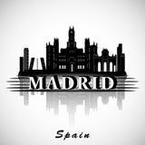 现代马德里市地平线设计 西班牙 向量例证