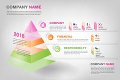 现代3d金字塔图表infographic在传染媒介eps10 免版税库存照片