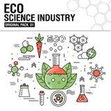 现代eco科学产业 稀薄的线被设置的象 免版税图库摄影