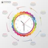 现代infographic与五颜六色的时钟 向量 库存图片