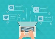 现代infographic与膝上型计算机 平的设计 免版税库存图片