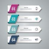 现代infographic箭头 导航4个选择,步,零件设计模板  皇族释放例证