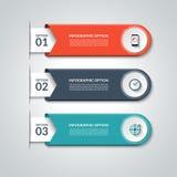 现代Infographic要素 与3个选择的传染媒介横幅 库存例证