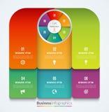 现代Infographic要素 导航与6个选择的圈子和工艺卡片模板 皇族释放例证