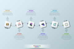 现代infographic设计模板、六个正方形和正文框由虚线和箭头连接了 图库摄影