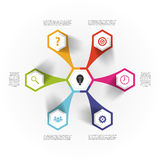 现代infographic设计模板 六角概念 向量 免版税库存图片