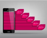 从现代infographics的手机 免版税库存图片