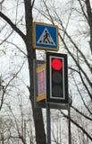 现代LED红绿灯发光红色和行人交叉路s 免版税库存照片