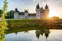 玷污苏尔卢瓦尔河,法国大别墅日落的 库存照片