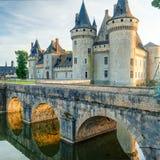 玷污苏尔卢瓦尔河,法国大别墅日落的 库存图片