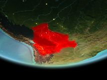 玻利维亚在地球上的晚上 免版税库存图片