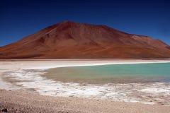 玻利维亚绿色盐水湖 免版税库存图片