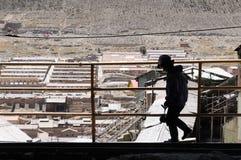 玻利维亚,从南美的矿工在工作在矿 免版税库存照片