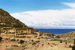 玻利维亚del isla湖横向sol titicaca 图库摄影