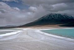 玻利维亚绿色盐水湖 库存图片