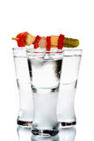 玻璃三伏特加酒 库存照片