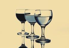玻璃三酒 免版税库存照片