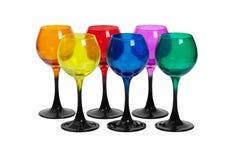 玻璃两行由色的玻璃制成 库存照片