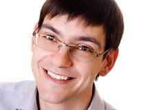 玻璃供以人员微笑的年轻人 库存照片