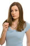 玻璃俏丽的妇女年轻人 免版税库存照片