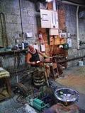 玻璃制造业的产品在直布罗陀的岩石的做被出口全世界的艺术玻璃 图库摄影