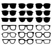 玻璃剪影 怪杰eyewear、凉快的太阳镜和镜片剪影传染媒介汇集 向量例证