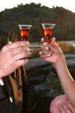 玻璃反射了雪利酒日落 免版税图库摄影