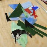 玻璃和框架的创造彩色玻璃艺术 库存图片