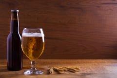 玻璃和瓶啤酒,大麦的耳朵在木桌上的 侥幸 库存照片