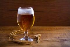玻璃和瓶啤酒,大麦的耳朵在木背景的 侥幸 库存照片