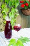 玻璃和蒸馏瓶用自创红葡萄酒在桌上在庭院里 库存照片