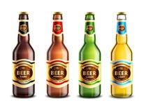 玻璃啤酒瓶现实集合 免版税库存图片