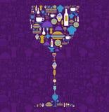 玻璃图标餐馆集合形状酒 皇族释放例证