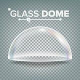 玻璃圆顶传染媒介 陈列设计元素 半球形盒盖 空的玻璃水晶圆顶 被隔绝的现实3D  向量例证