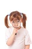 玻璃大的女孩扩大化的一点非常 库存图片