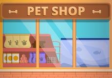 玻璃宠物店概念横幅,动画片样式 向量例证