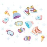玻璃帽子集合冰鞋 皇族释放例证