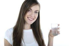玻璃微笑的妇女 库存图片