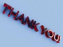 玻璃徽标红色感谢您 库存图片